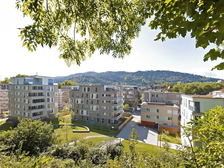 Freiburg »FreiburgLeben«, Kartäuserstraße: Blick vom Schlossberg auf die Eigentumswohnungen