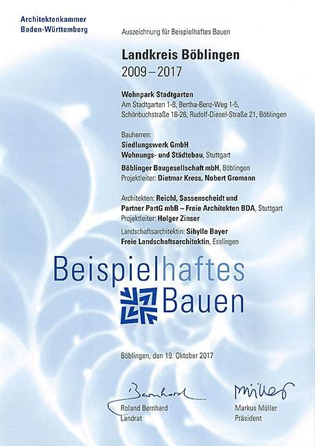 Urkunde für »Beispielhaftes Bauen« 2017